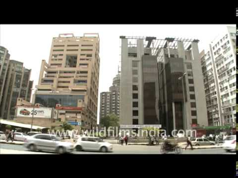 Jaquar comes out of newly-constructed office buildings in Connaught Place, New Delhi
