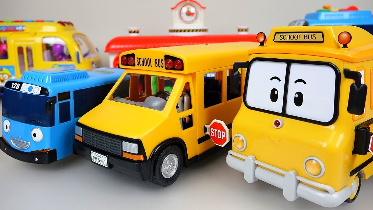 Wheels The Bus Nursery Rhymes playing BUS Tayo toys