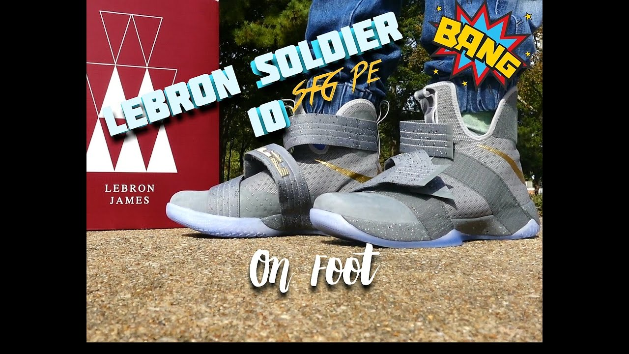 finest selection 3f6ee 92d0a Lebron Soldier 10 SFG PE ( Battle Grey ) On Foot
