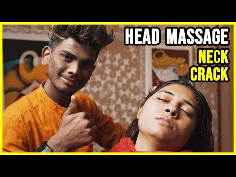 INDIAN GIRL 🟣 HEAD AND FACE MASSAGE with NECK CRACK 🟣 ASMR sleep