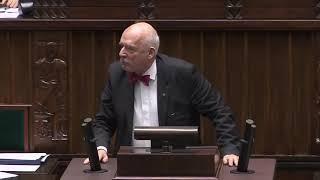Janusz Korwin-Mikke w Sejmie o koronawirusie: Szerzycie panikę! Straszycie ludzi!   Sejm (2.03.2020)