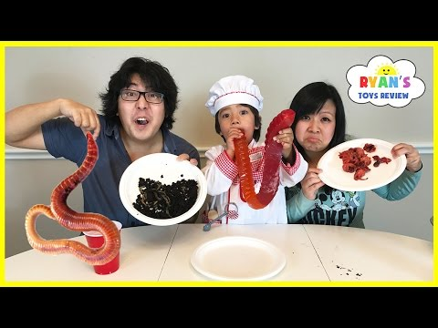 Thumbnail: Gummy Food vs Real Food challenge Parent Edition! Giant Gummy Worm Gross Real Food Candy Challenge