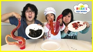Repeat youtube video Gummy Food vs Real Food challenge Parent Edition! Giant Gummy Worm Gross Real Food Candy Challenge