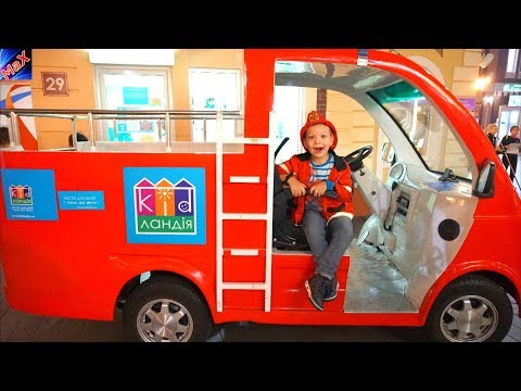 Funny Baby Play on Indoor Playground Play Area for Kids with Fire Truck & Police Car Nursery Rhymes
