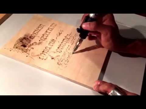 Pyrography, using a Dremel 2000 Versatip  Outlined of letter roughed in   Wood burn letters 03
