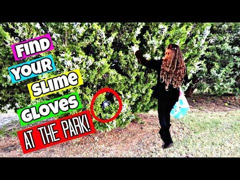 Find Your Slime Ingredients Challenge!  Hide & Seek Slime Gloves At The Park!