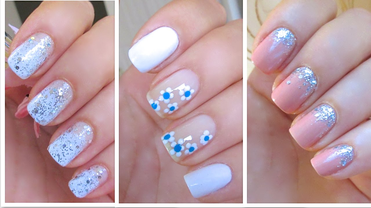 3 cute and easy nail art designs for new years youtube - Easy nail design ideas to do at home ...