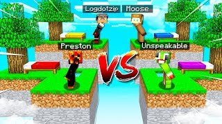 MINECRAFT 1v1v1v1 BED WARS BATTLE with Unspeakable! - Minecraft Mods