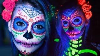 CAVEIRA MEXICANA c/ LUZ NEGRA - Tutorial de Maquiagem Passo a Passo (Catrina / Sugar Skull)