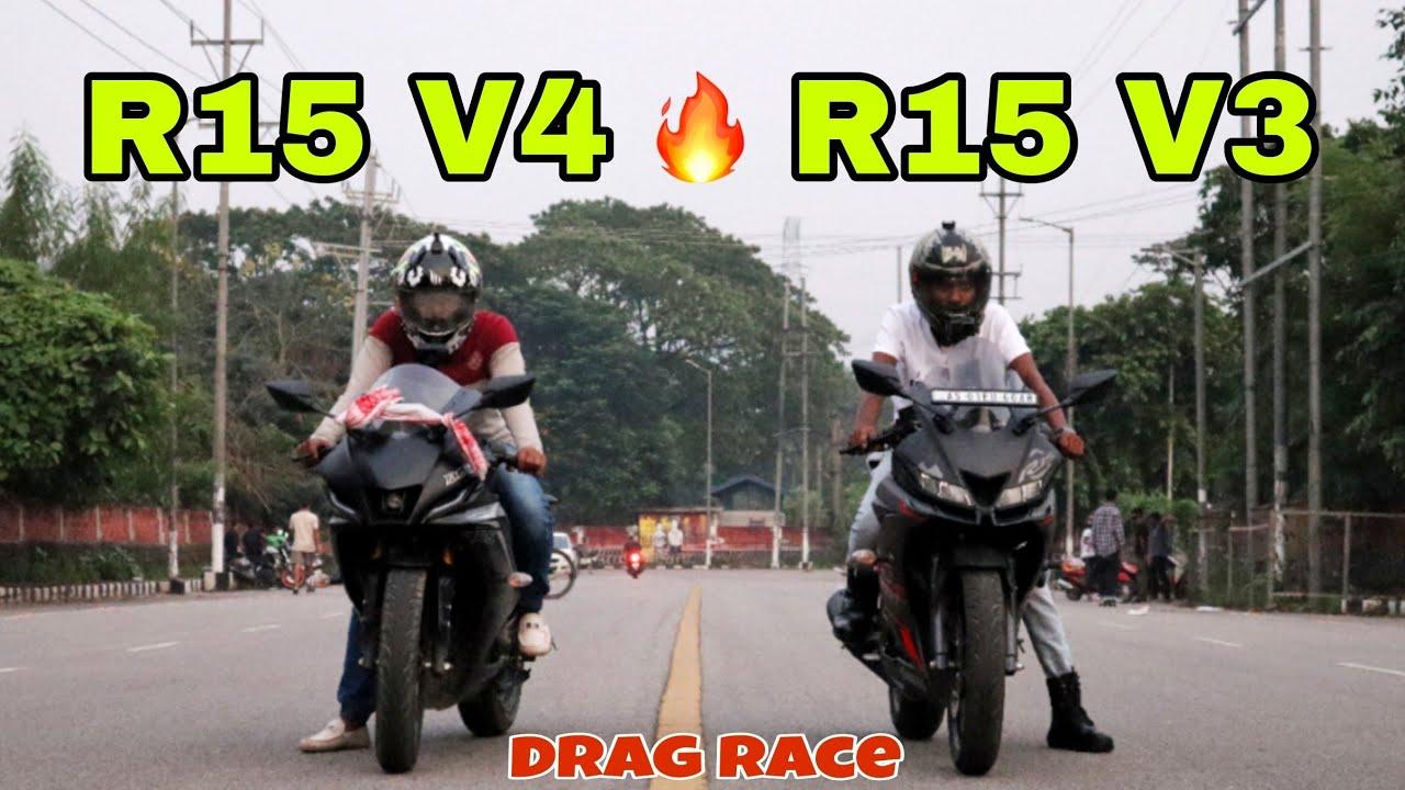 Download Yamaha R15 V4 vs R15 V3 Drag Race | Guess The Winner ?