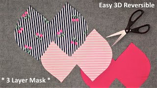 DIY Fabric Face Mask Sewing Tutorial Make 3 Layer Face Mask Cloth 3D Breathable Reversible Mask