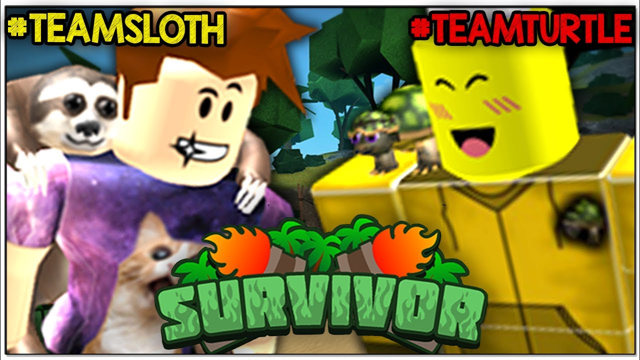 If Youre In Team Sloth Take All My Robux Roblox Youtube Team Turtle Vs Team Sloth Youtuber Roblox Survivor Youtube