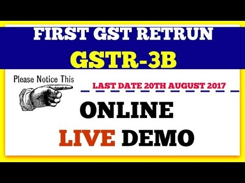 GSTR 3B (First GST Return) how to prepare and submit online live demo to do before 20 August 2017