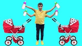 Sami helps babies! Children pretend to play with dolls, funny videos for kids