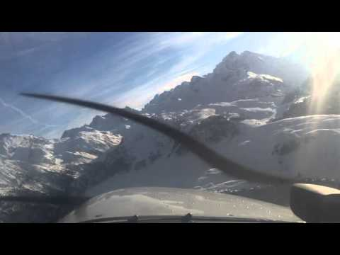 Landing into the sun Courchevel airport France