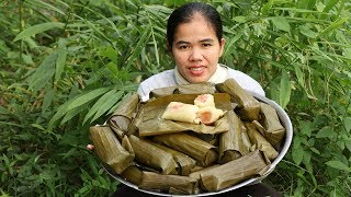Amazing Cooking Sticky Rice W/ Banana & Coconut  Recipe - Cook Sticky Recipes - Village Food Factory