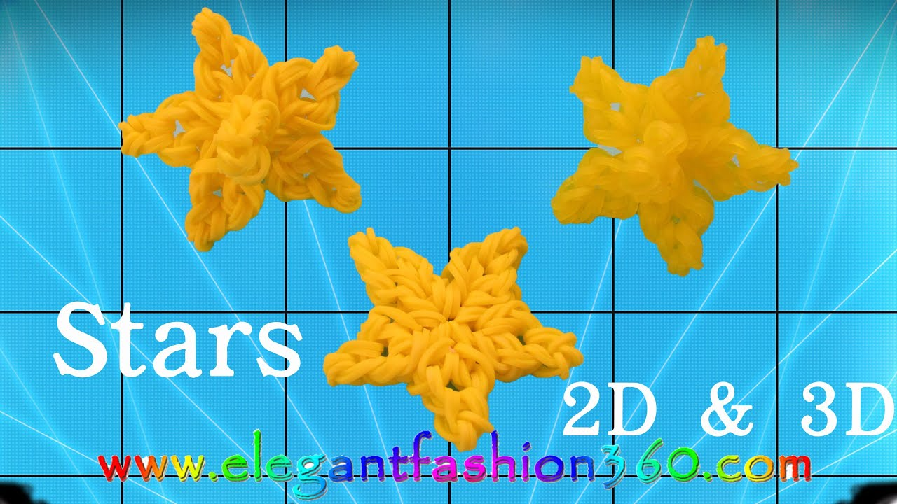 Rainbow Loom Star Snowflake 2d And 3d Charm Ornament