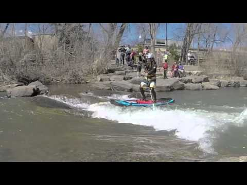 SUP river surfing, Library Hole, Clear Creek, Golden Colorado @ 70CFS