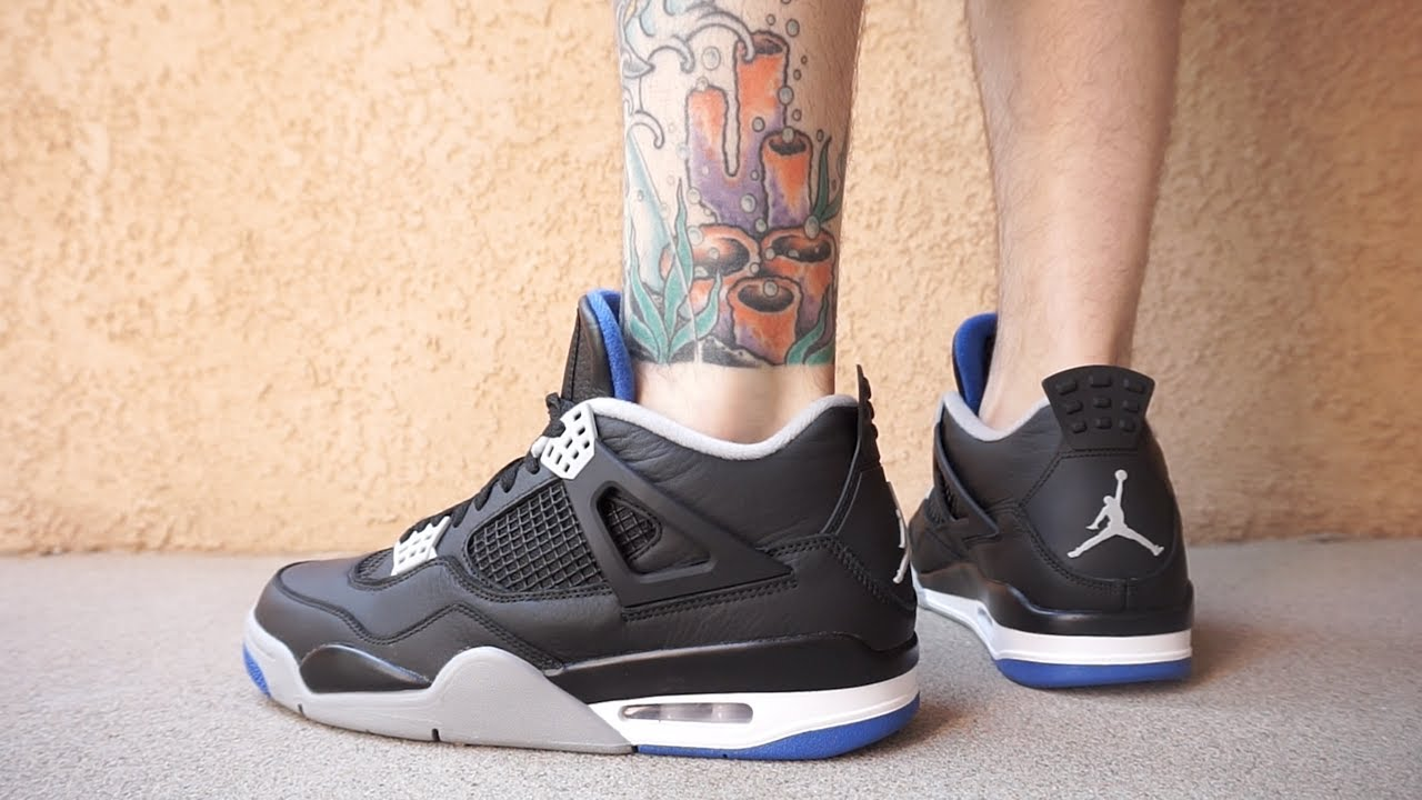 768b49520bff NIKE AIR JORDAN 4 MOTORSPORT ALTERNATE EARLY LOOK UP CLOSE ON FOOT ...