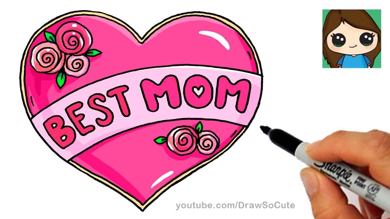 How to Draw Best Mom Bubble Letters and Heart - YouTube