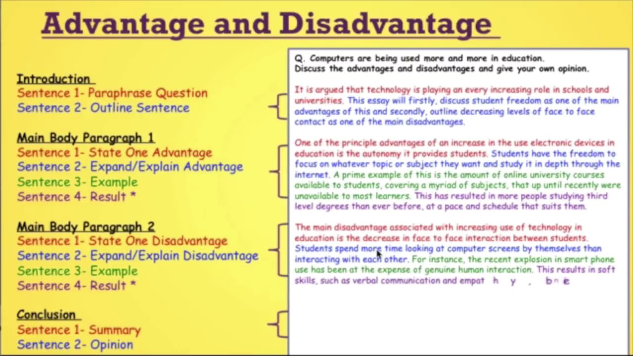 Advantage disadvantage essay sample ielts custom writer