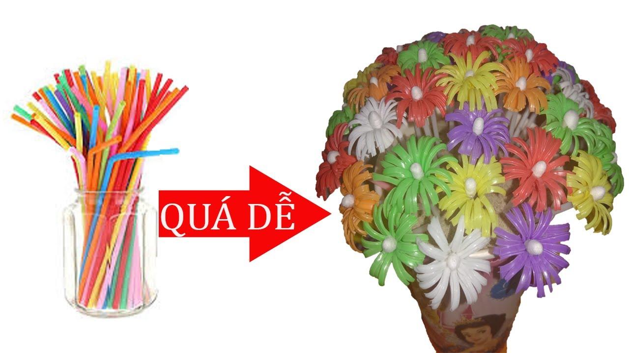 ĐTC - Làm lọ hoa để bàn tuyệt đẹp từ ống hút