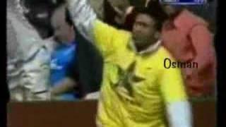 Waqar Younis sends Thorpe's off stump cartwheeling. thumbnail