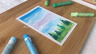 오일파스텔 여름 풍경화 그림그리기 기초 초보 landscape scenery with oil pastel drawing