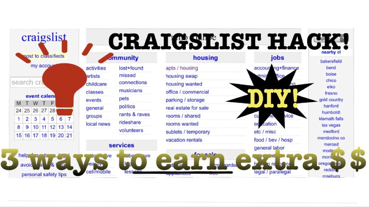 Craigslist 3 ways to make extra money! Easy extra income DIY with no  business help! INSANE results!