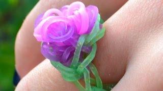 Bague élastique Rainbow Loom avec machine -  how to make a rainbow loom flower ring DIY