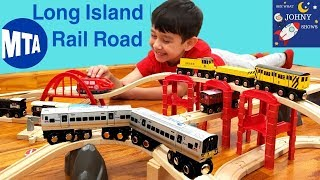 Johny Unboxes MTA Munipals Long Island Railroad With MTA Train Toys On Wooden Track Layout