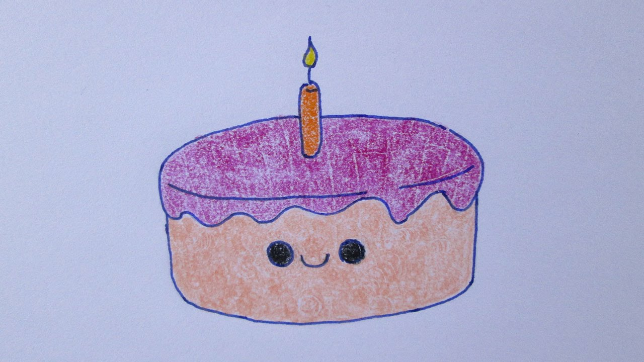 Cómo Dibujar Libro Para Colorear Pastel Para Niños: Cómo Dibujar Un Pastel De Cumpleaños Kawaii