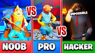 NOOB vs PRO vs. HACKER on this MORTRUN DEATHRUN on Creative Fortnite!