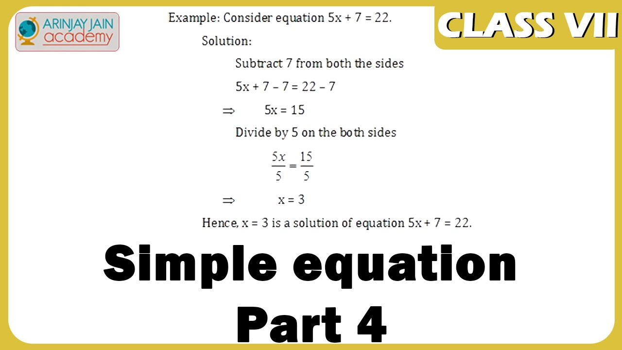 worksheet Simple Equations Worksheet For Class 7 simple equation part 4 equations maths class 7vii iscecbse ncert
