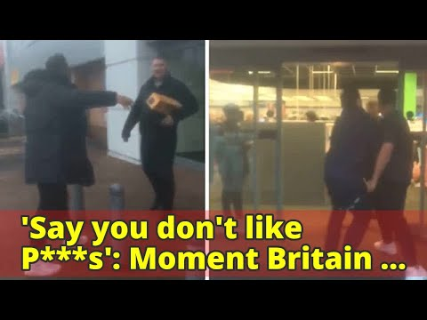 'Say you don't like P***s': Moment Britain First leader Paul Golding flees inside Currys PC World af