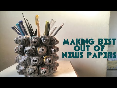 How to make newspaper art and craft.Easy newspaper craft