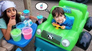 Ice Cream Drive Thru Toy Store Pretend Play with Zack