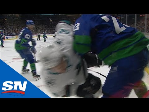 Alexander Edler Sends Kevin Labanc Flying, Cheap Shots Ensue