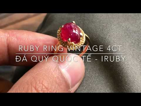 Natural Ruby ring vintage 4ct - IRUBY