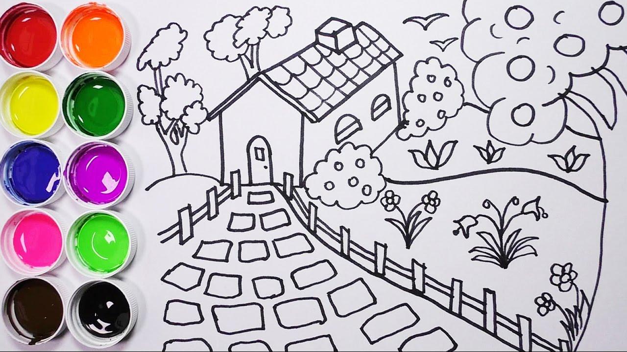 Como Dibujar Y Colorear Una Casa Con Arbol Y Un Jardin Dibujos Para Niños Funkeep