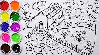Como Dibujar Y Colorear Una Casa Con Arbol y Un Jardin - Dibujos Para Niños / Funkeep