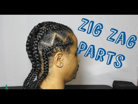 Zig Zag Parts With Straight Back Braids Men Natural Hair