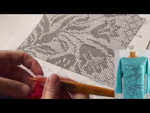 """Филейное вязание. Туника часть 1 ( """"filet Crochet"""" Tunic Part 1)针织里脊 (В №22)"""
