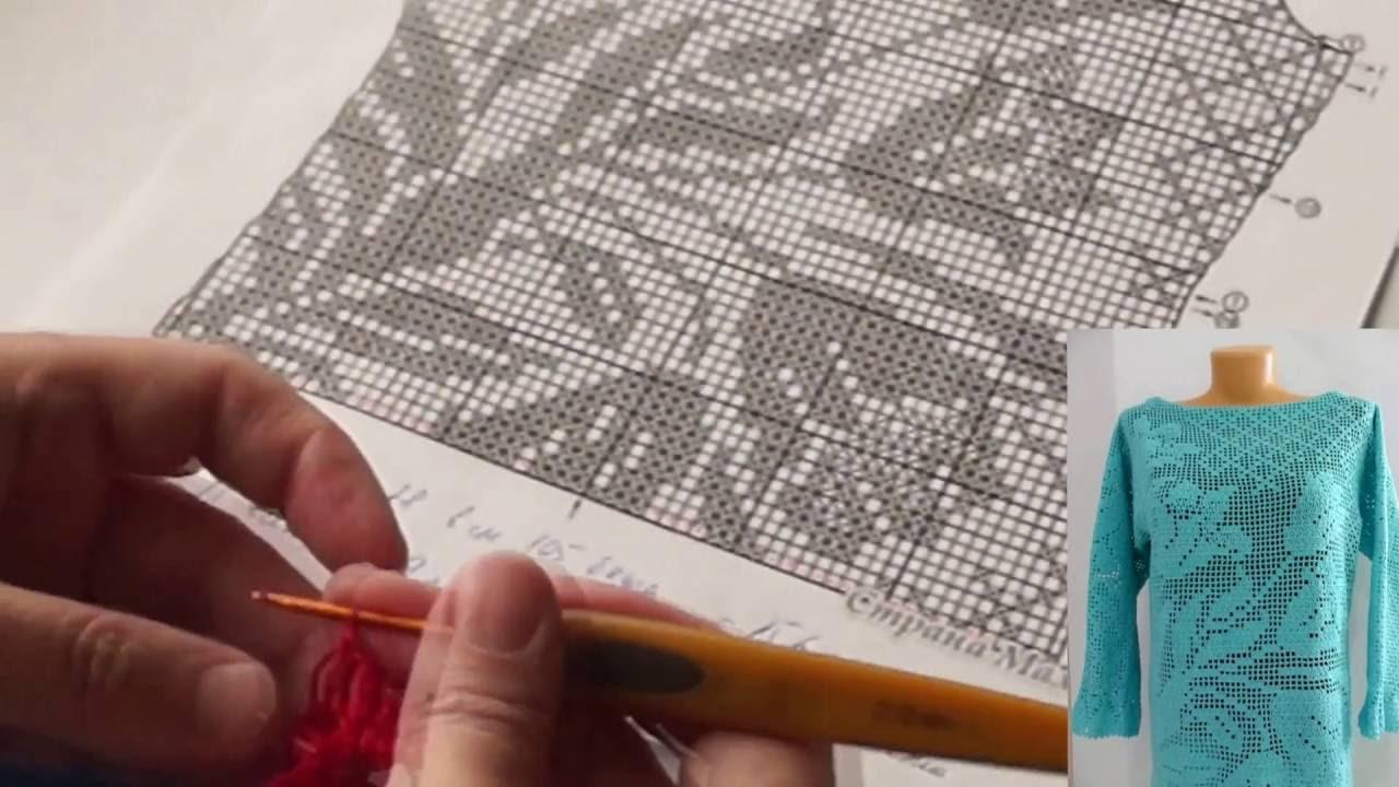 филейное вязание туника часть 1 Filet Crochet Tunic Part 1针织