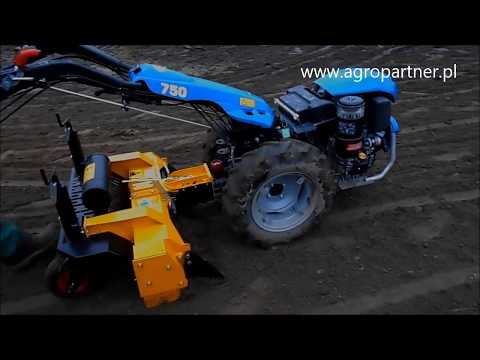 BCS 750 Tractor: Swivel Rotary Plow + Sickle Bar Attachment