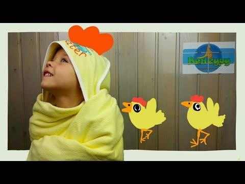 Детские полотенца махровое с капюшоном желтое