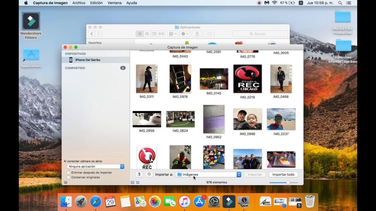pasar fotos iphone a mac