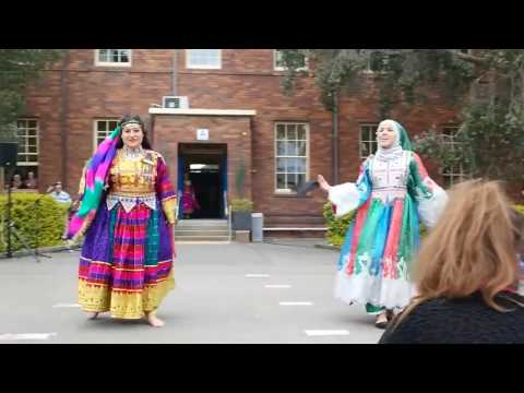 Best Attan by Afghani girls  ( with  Afghani  Flag  ) at school in uk