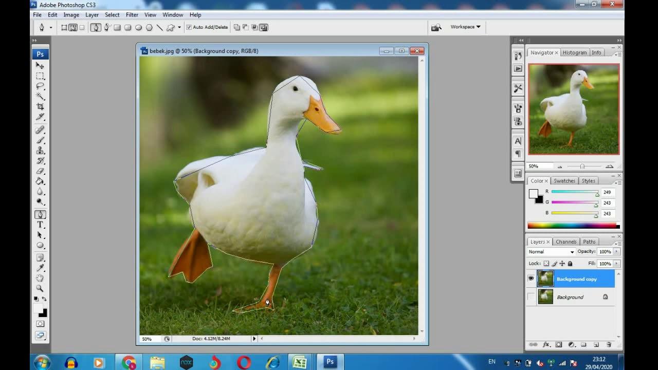 Cara Memotong Gambar Di Photoshop Cs3 Dengan Pen Tool Youtube