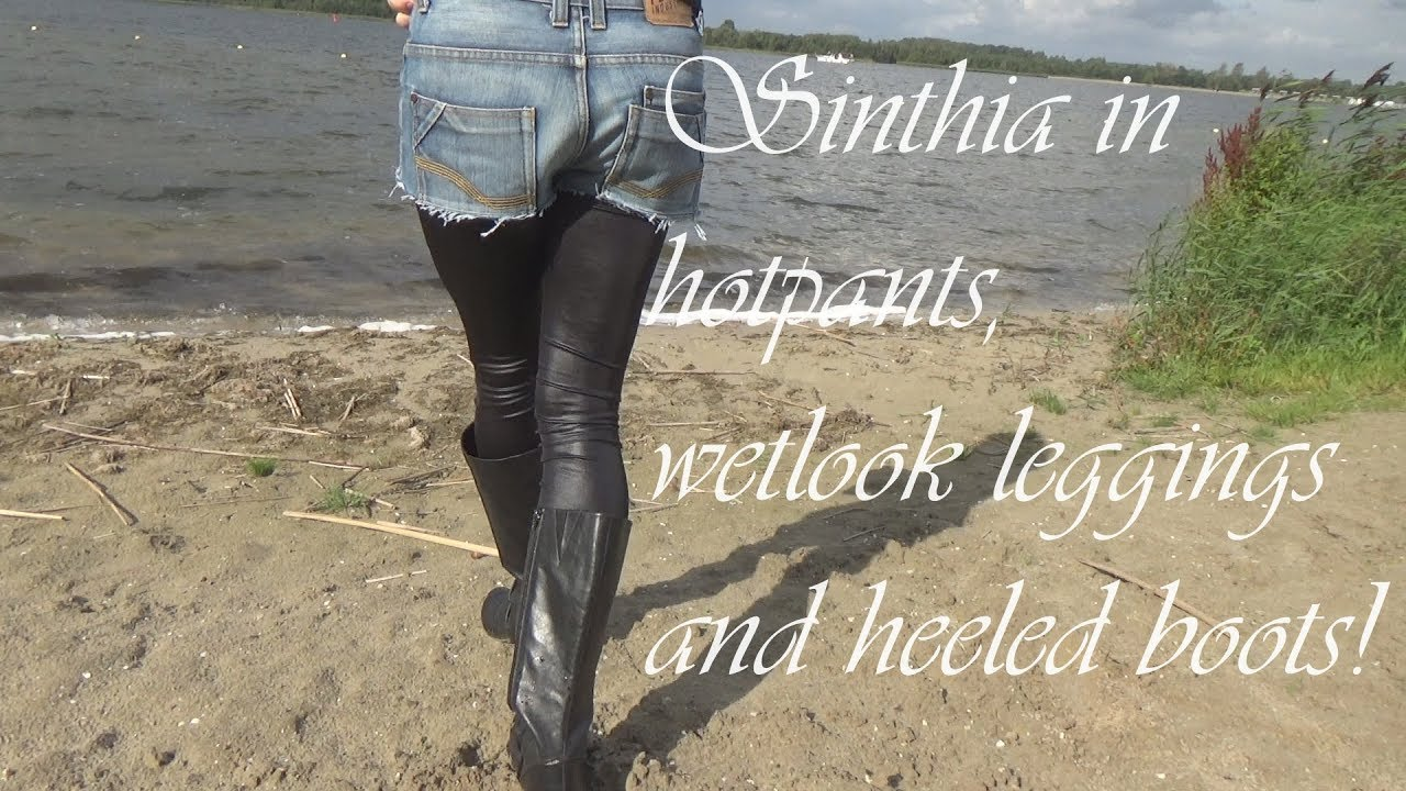 Sinthia In Hot Pants Wet Look Leggings And Heeled Boots